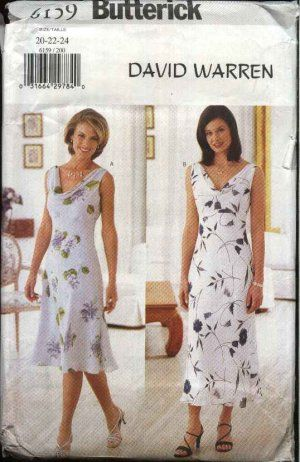 Butterick Sewing Pattern 6159 Misses Size 20-22-24 Easy Sleeveless ...