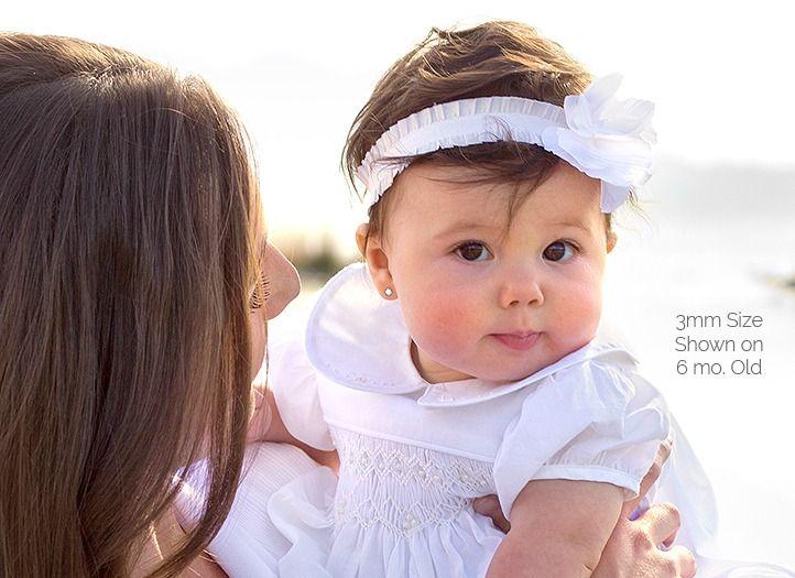3mm cz round babychildrens earrings screw back 14k