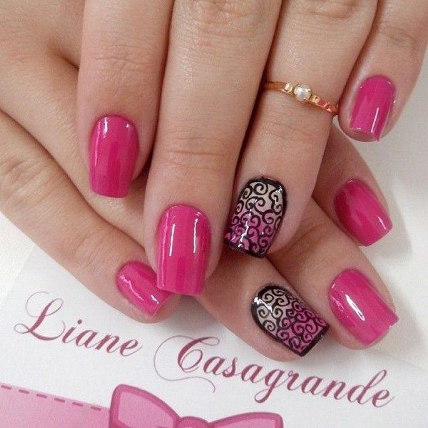 50 Pink Nail Art Designs | Art and Design - 50 Pink Nail Art Designs Black Polish, Pink Nails And Unique