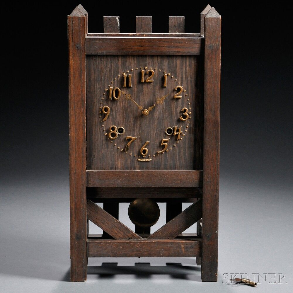 Arts crafts sessions mantel clock oak metal connecticut for Arts and crafts mantle clock
