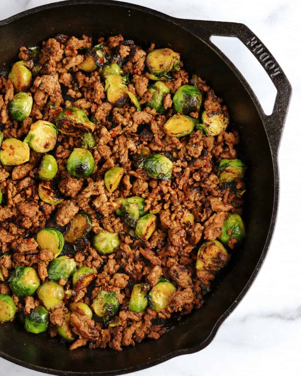 20-Minute Sweet Chili Ground Beef and Brussels Sprouts Skillet