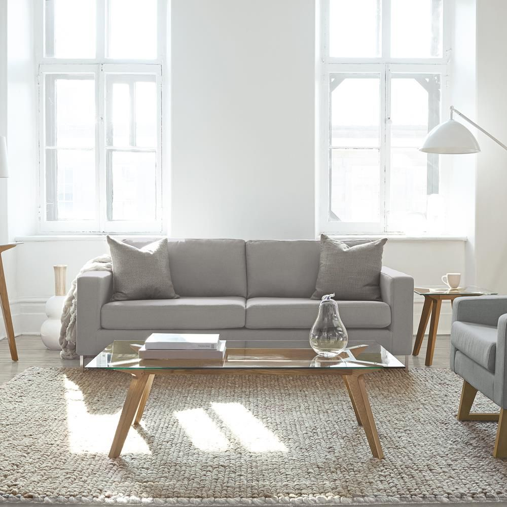 Atelier - Stockholm - Glass-top coffee table with oak legs/COFFEE ...