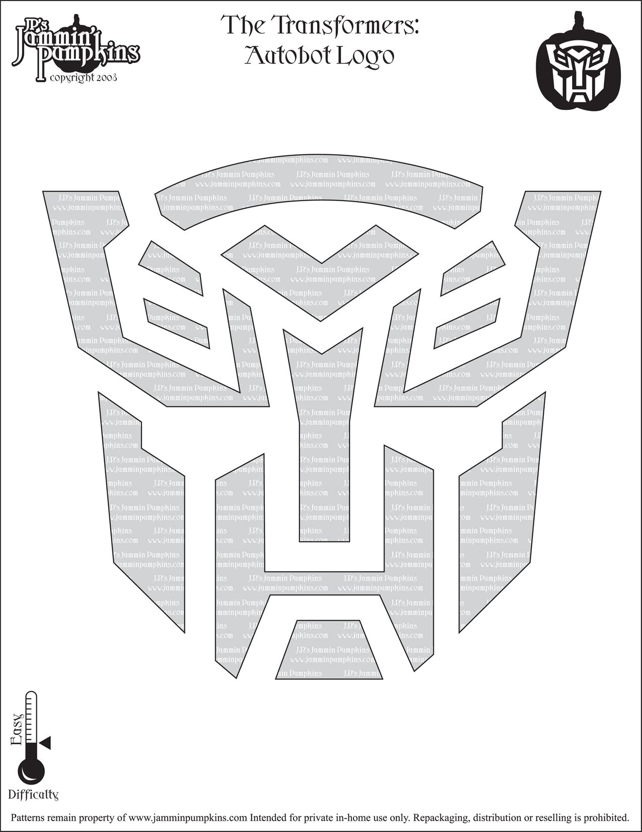 Autobot Pumpkin Stencil | Transformers Pumpkin Stencil ...