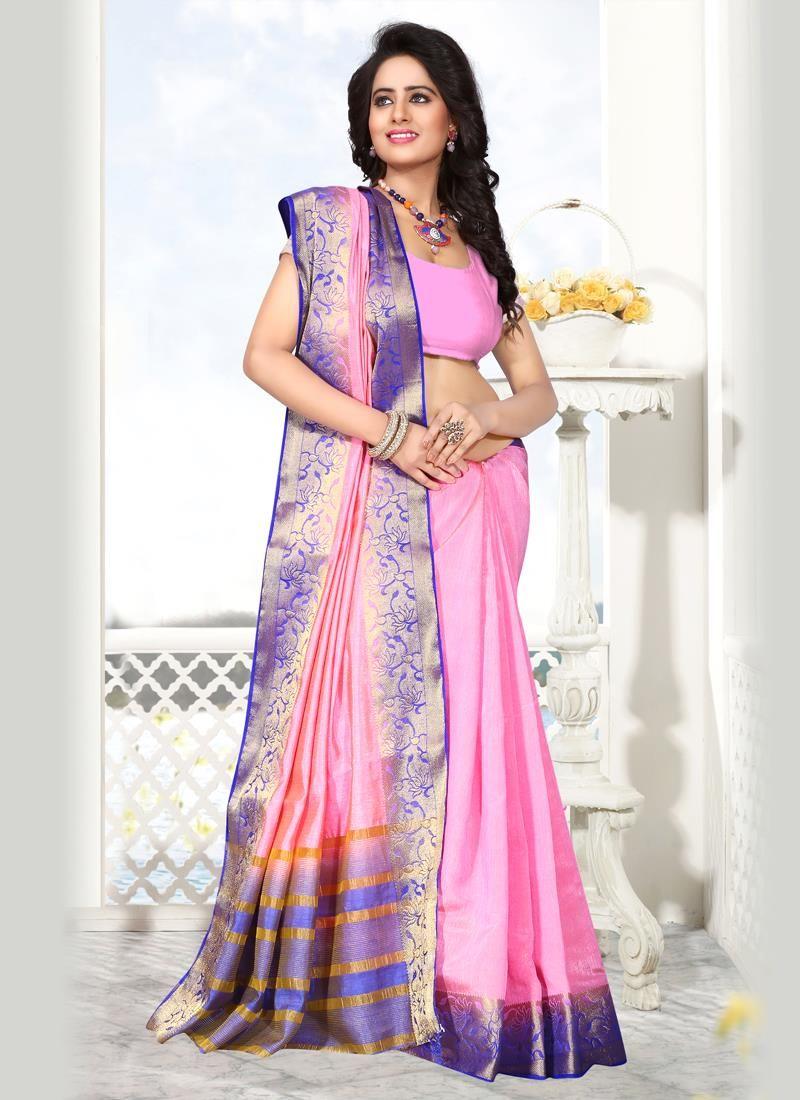 Integral Raw Silk Patch Border Work Designer Saree