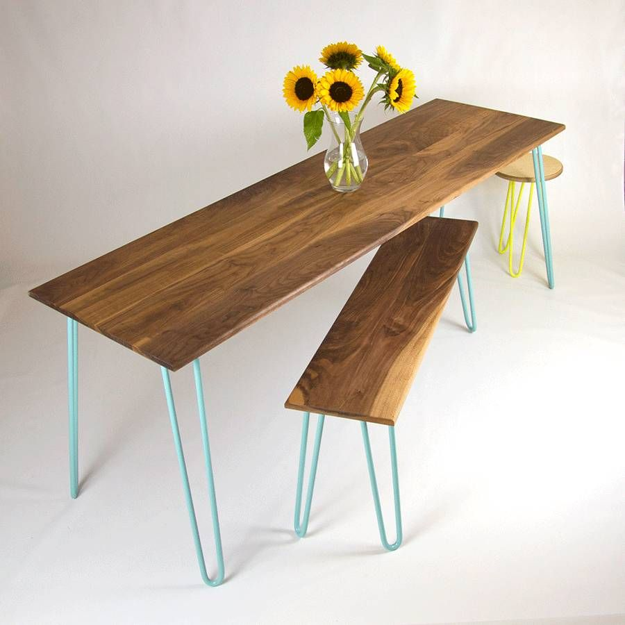 Dining Table With Industrial Hairpin Legs In Walnut