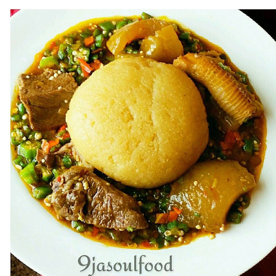 Dinner inspiration okro soup with yellow garri who wan
