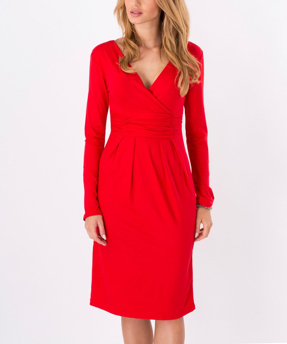 Another great find on zulily beyou red vneck longsleeve dress by