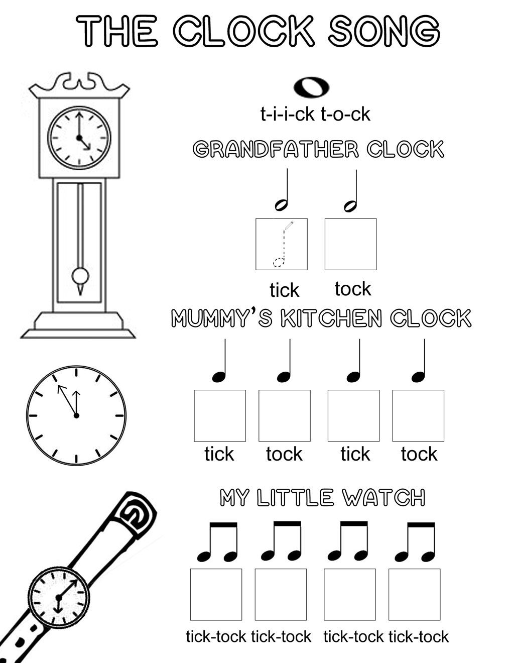 Lets Play Music Free Music Theory Worksheet The Clock Song – Elementary Music Worksheets
