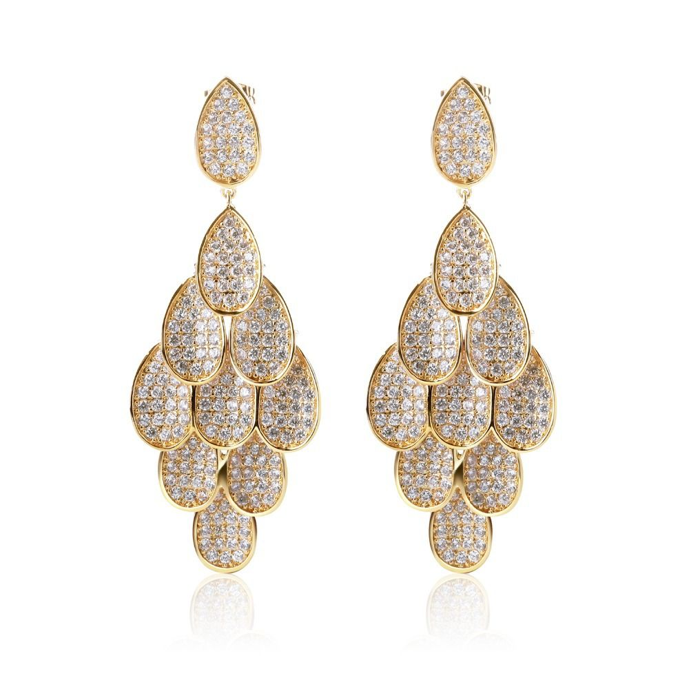 Fashion earrings gold plated with Cubic zircon luxury Drop Earring ...