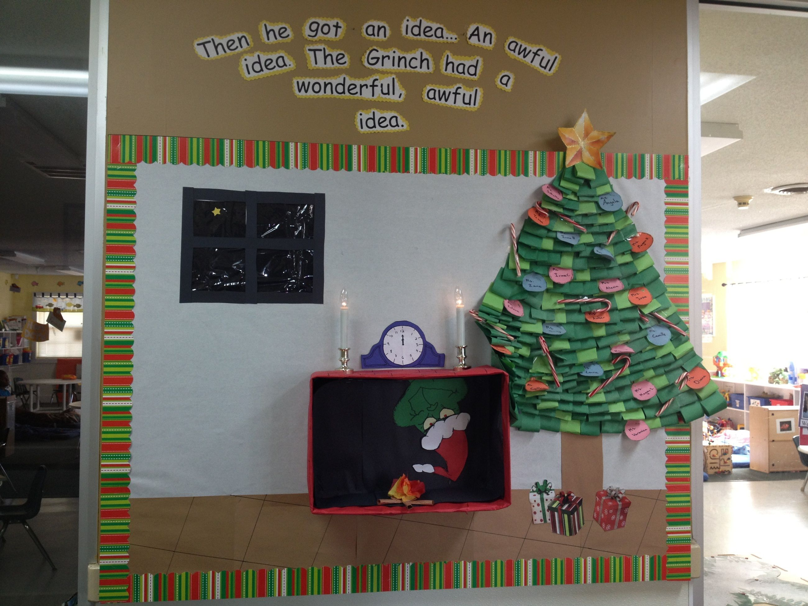 White Christmas Classroom Decorations ~ The grinch had an idea christmas bulletin board