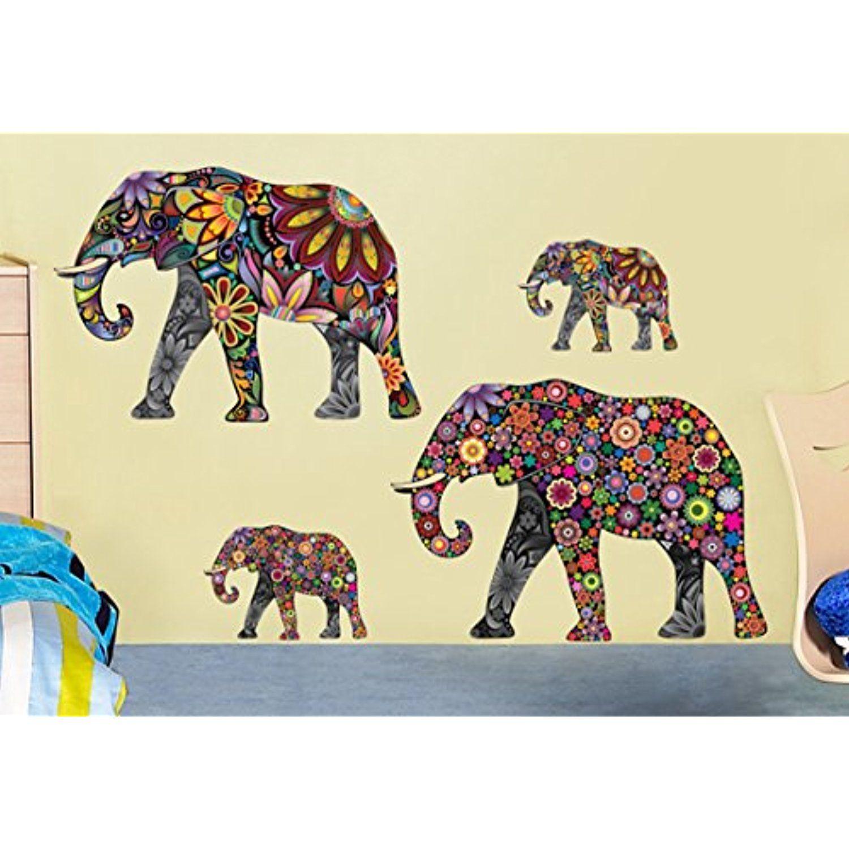 Petansy Elephant Wall Stickers Cartoon Elephent Wall Decals ...