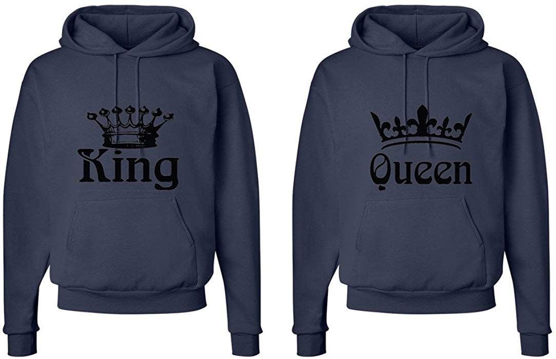 409b05a1ef FASCIINO Matching His & Hers Couple Hooded Sweatshirt Set - King and Queen  Crowns (King Shirt: Medium/Queen Shirt: Small White) at Amazon Men's  Clothing ...