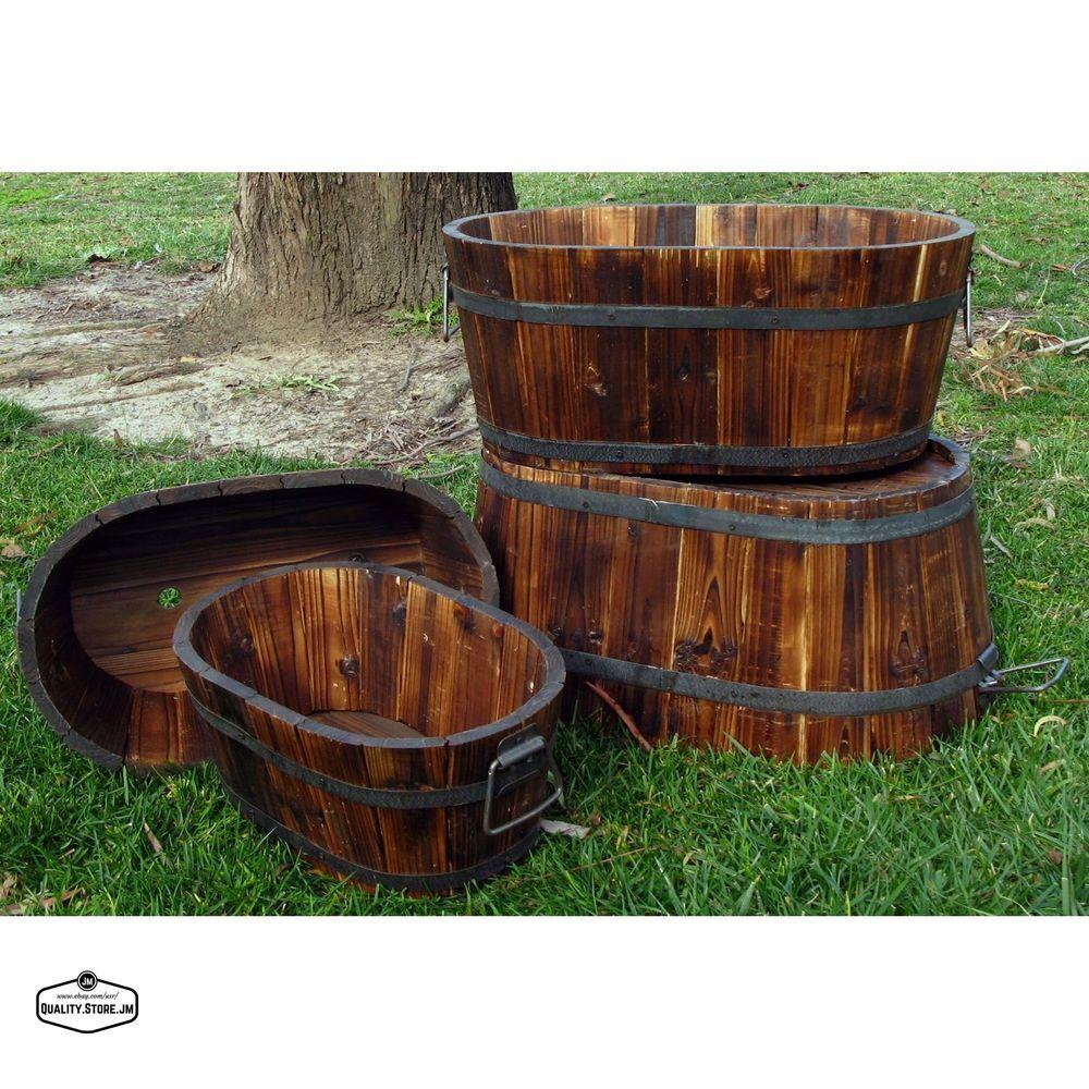 Wine Barrel Planter Whiskey Oval Garden Pots Cedar Set Of 4 Rustic Planters Deck