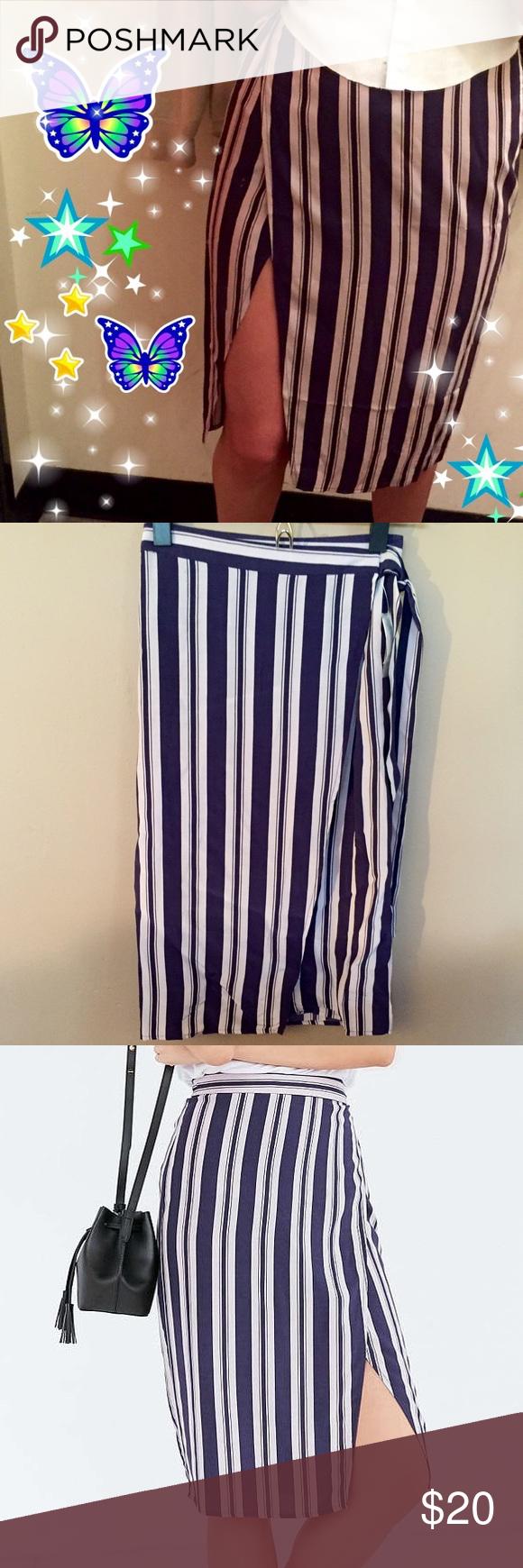 Ecote striped wrap pencil skirt Blue/white striped wrap around pencil skirt Urban Outfitters Skirts Midi