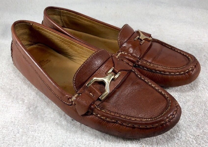 e7f195e8c54 Peter Millar Women s Brown Leather Horsebit Driving Moccasin Loafers Shoes  Sz 8M