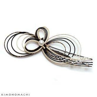 Mizuhiki hair accessory [Black x gold] U pin type