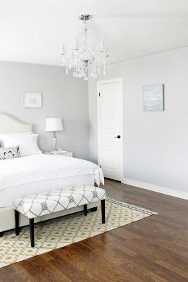 lovely light gray bedroom paint colors | Light gray and white bedroom with medium tone hardwood ...