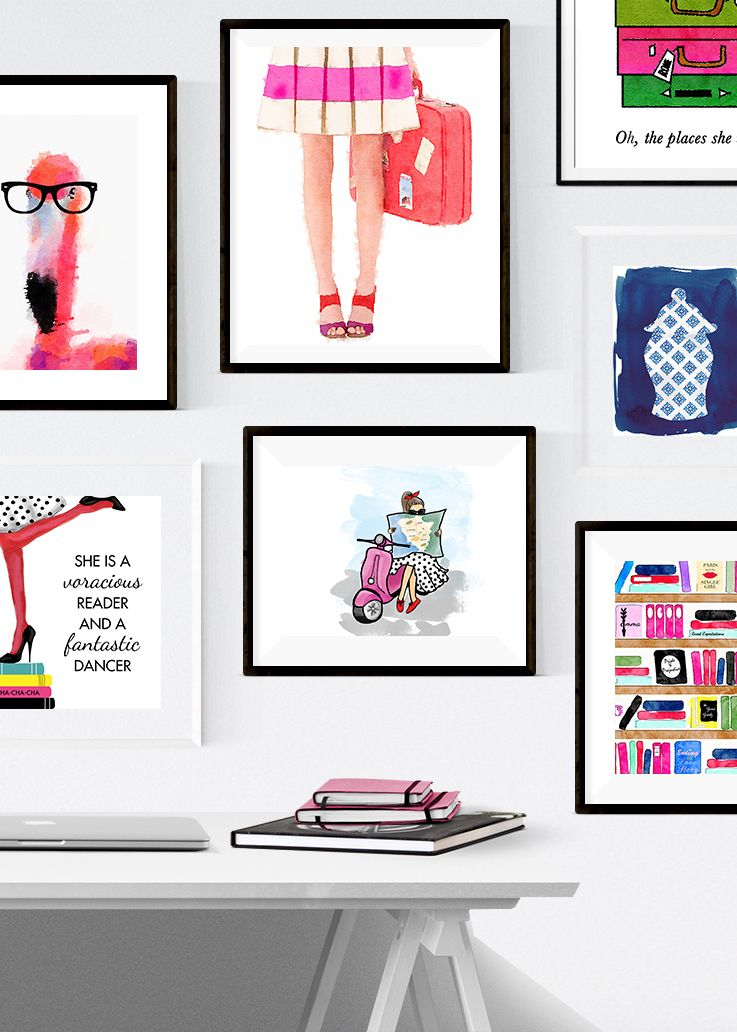 Kate Spade Inspired Gallery Wall - Colorful, preppy, fun, and affordable prints available at www.preppyprintshop.com