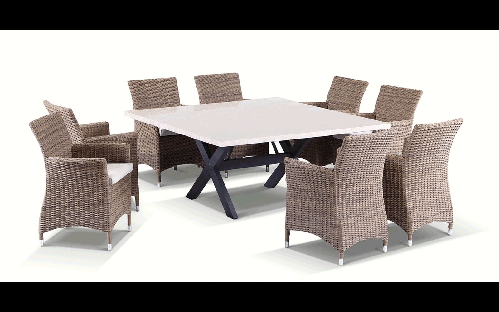 Stunning 8 Seater Square Solid Stone Top Dining Table Half Round Wicker Chairs Setting Quality F Round Wicker Chair Round Dining Table Stone Top Dining Table