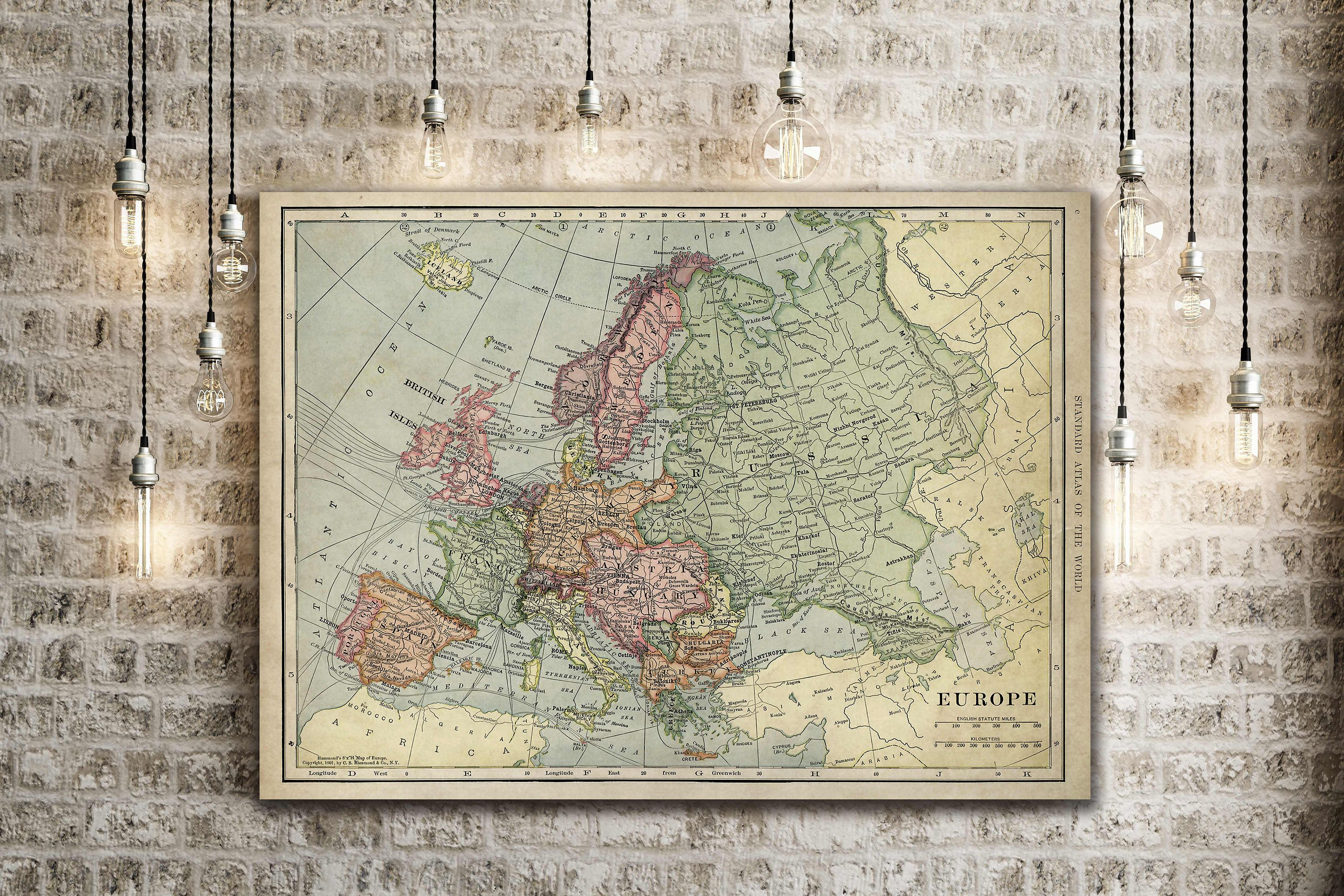 Old Map Of Europe Up To 43x 55 Restoration Hardware Style Decorative Map Vintage Map Of Europe Antique Europe Map Europe Wall Art Old Map Map Decor Vintage Map