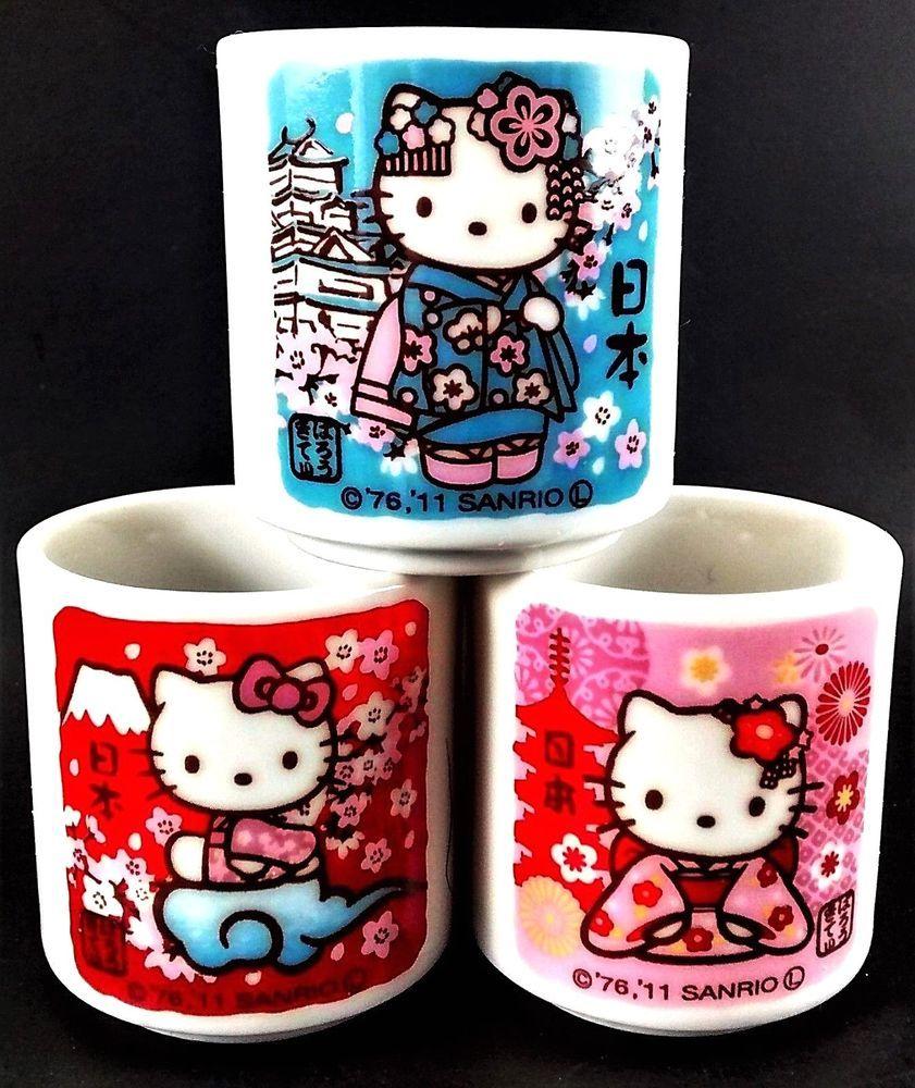 673013d532f5 3 pc HELLO KITTY  japanese  Shotglasses NEW  Ceramic  japan  SakeCups   sanrio 2011  hellokitty