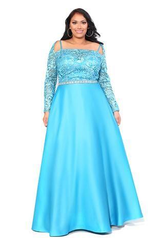 Kurves By Kimi Plus Size Princess Shoulder Lace Ball Gown 7001 Front
