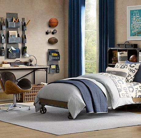 Sport themed boys bedroom. Like the neutral wall color...light and allows objects to pop off