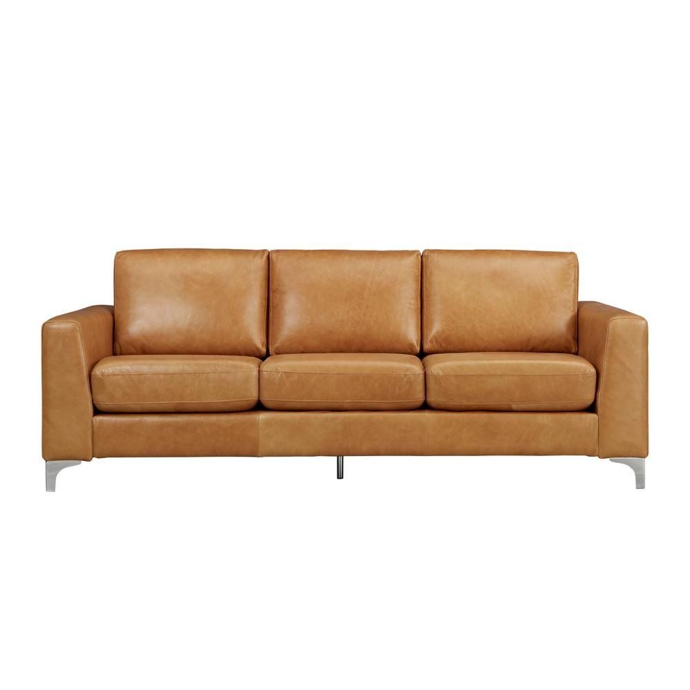 Homesullivan Russel 1 Piece Caramel Leather Sofa Best Leather