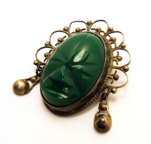 14f7b8f5c1a9a Vintage Pre Owned 925 Sterling Silver with Green Onyx Aztec Mask ...