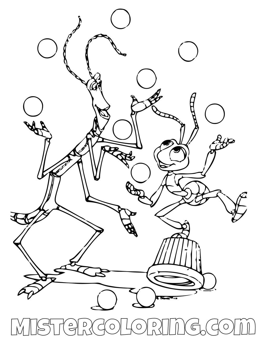 Slim And Flick Juggling A Bugs Life Coloring Page Disney