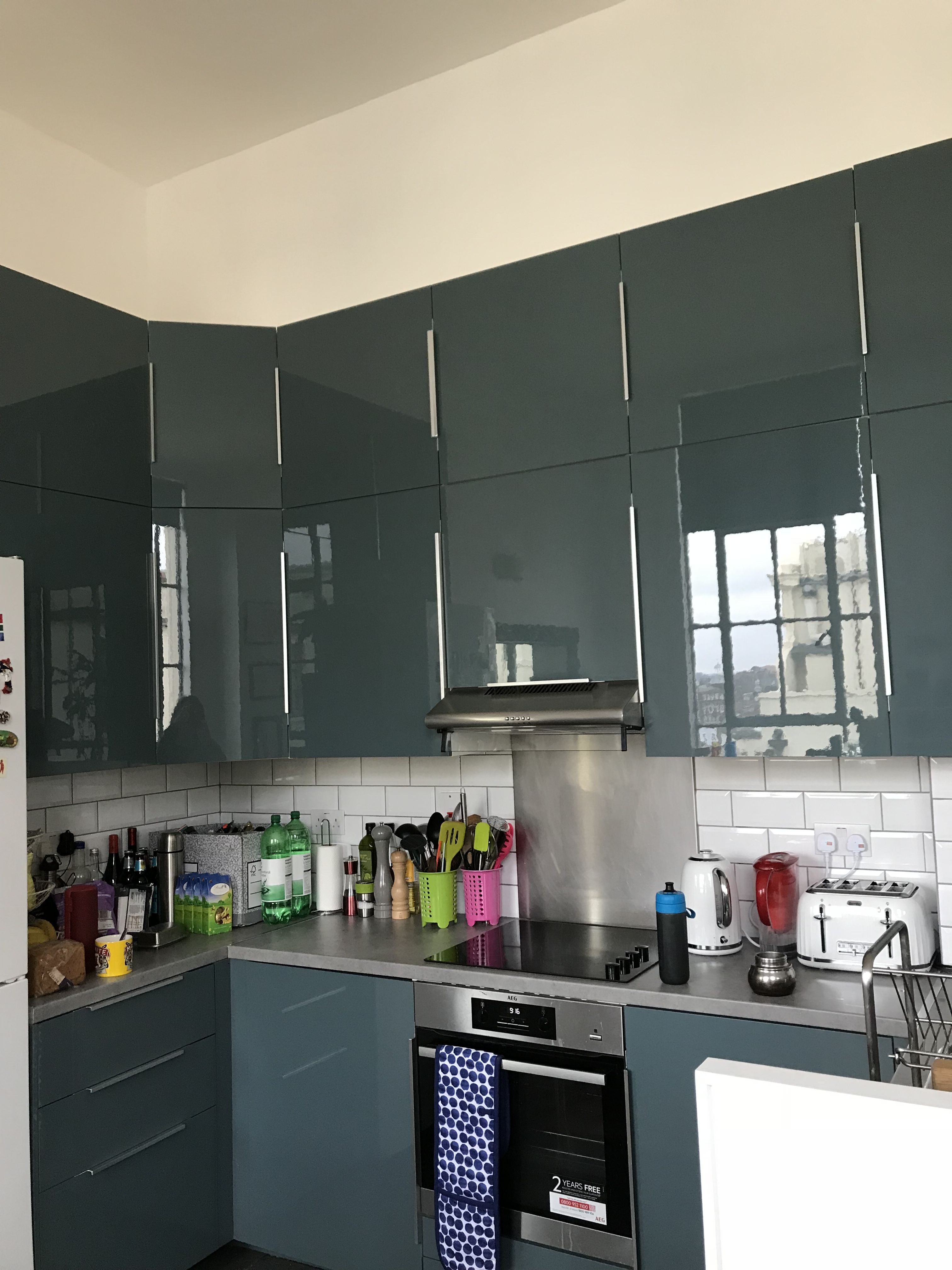 Double Height Turquoise Grey Kitchen Ikea Kallarp Turquoisegreykitchen Ikeakitchen Kitchen Smallspace House