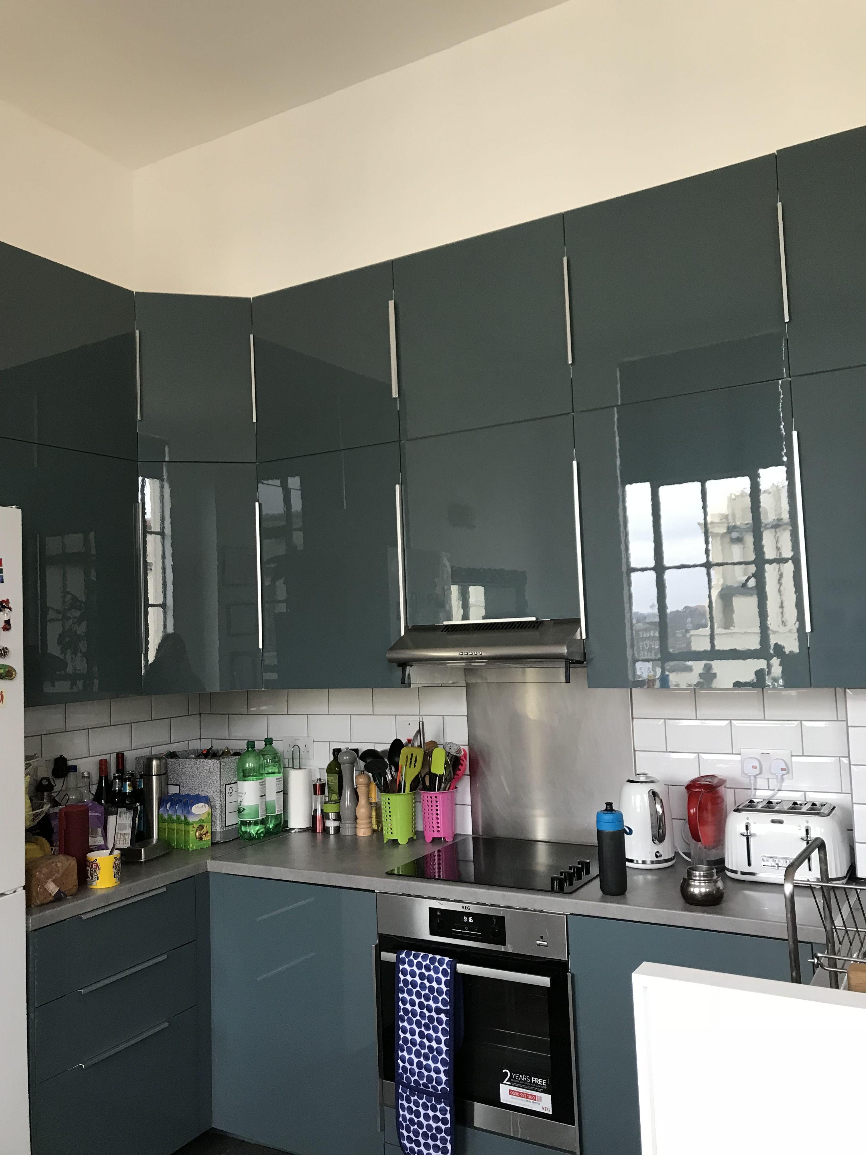 Double Height Turquoise Grey Kitchen Ikea Kallarp