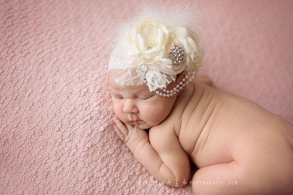 Cream / Ivory Baby Flower Headband Infant by lepetitejardin
