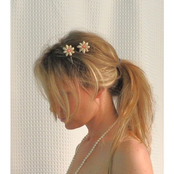 Shell Hair Clips, Flower Cowry Shell Hair Clips ❤ liked on Polyvore
