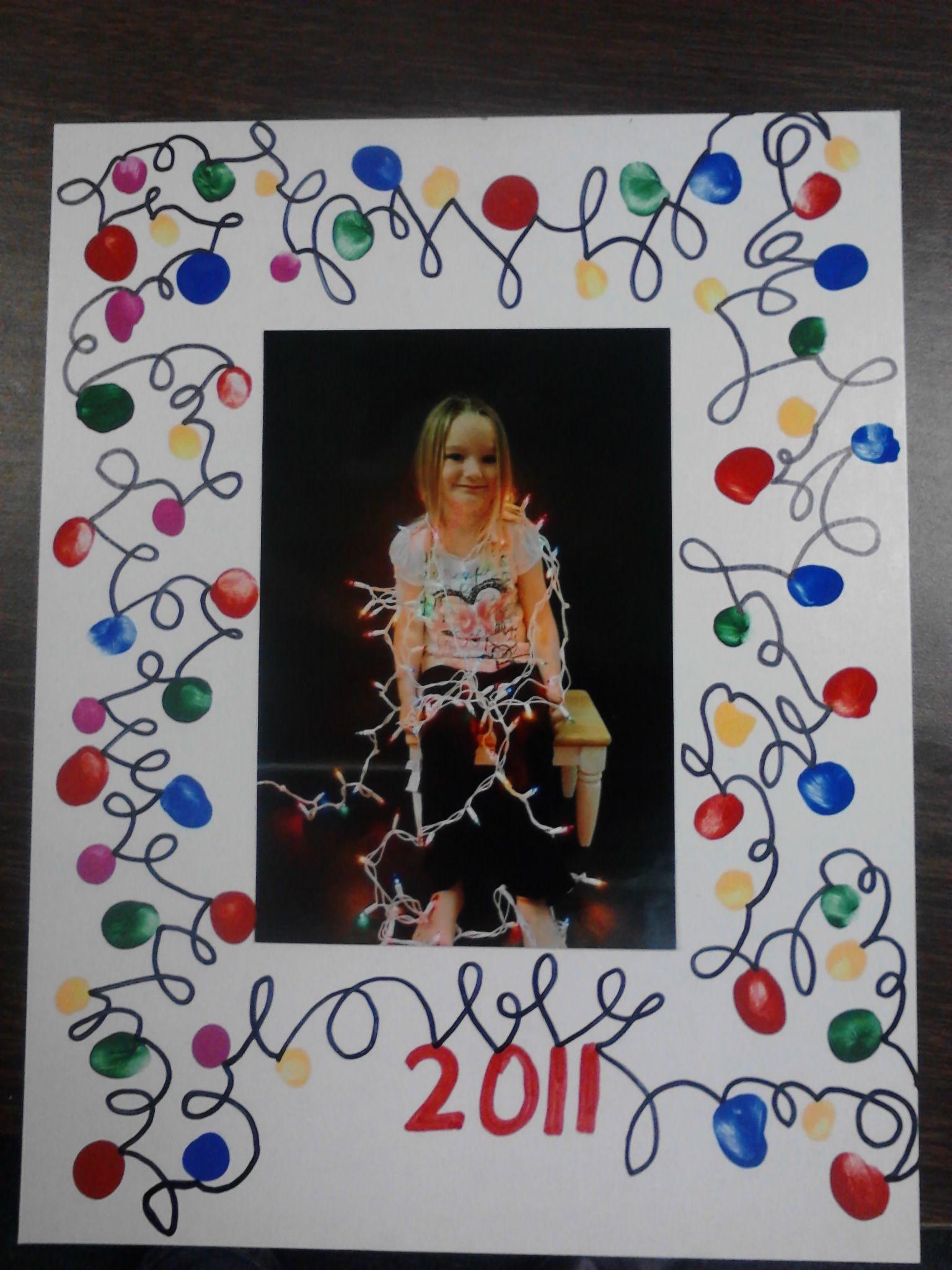 Christmas Lights picture frame using fingerprints