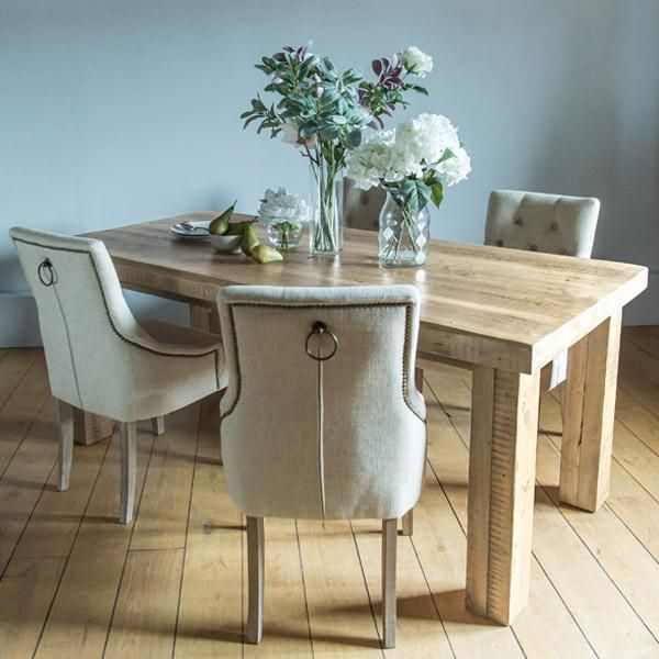 English Beam Extendable Reclaimed Wood Dining Table With Upholstered Chairs Furniture Pinterest Beams And