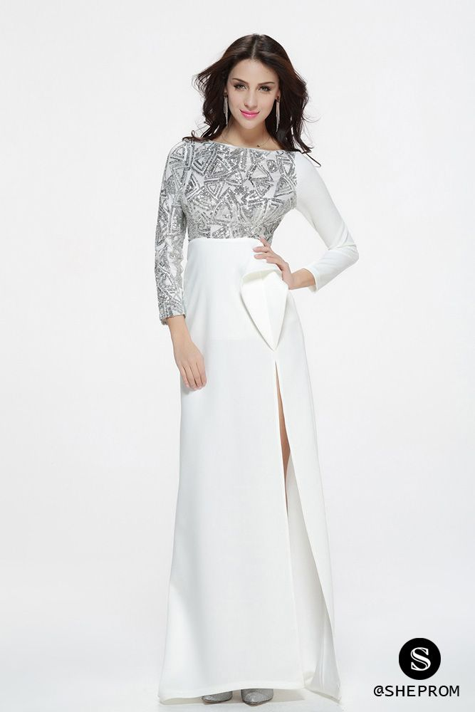 Sexy White And Silver Sequins Slit Prom Dress 104 Ck341
