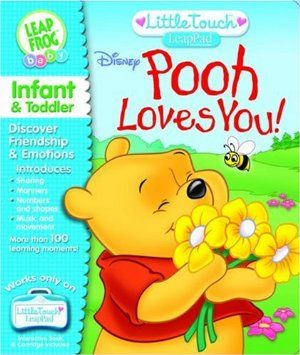 BOOK: Winnie the Pooh by LeapFrog. $6.99. 6 months - 3 years. Amazon.com                One of a library of interactive books that play on LeapFrog's Little Touch LeapPad, Pooh Loves You! teaches babies important social skills, such as sharing and using good manners, and reinforces numbers and shapers—all under the gentle guidance of lovable Winnie the Pooh. The book and cartridge snap easily into the LeapPad. With three settings to choose from, parents can adjust the book...