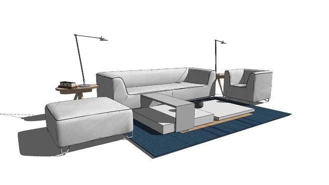 沙发组件 3d Warehouse Furniture Small Sofa Office Sofa