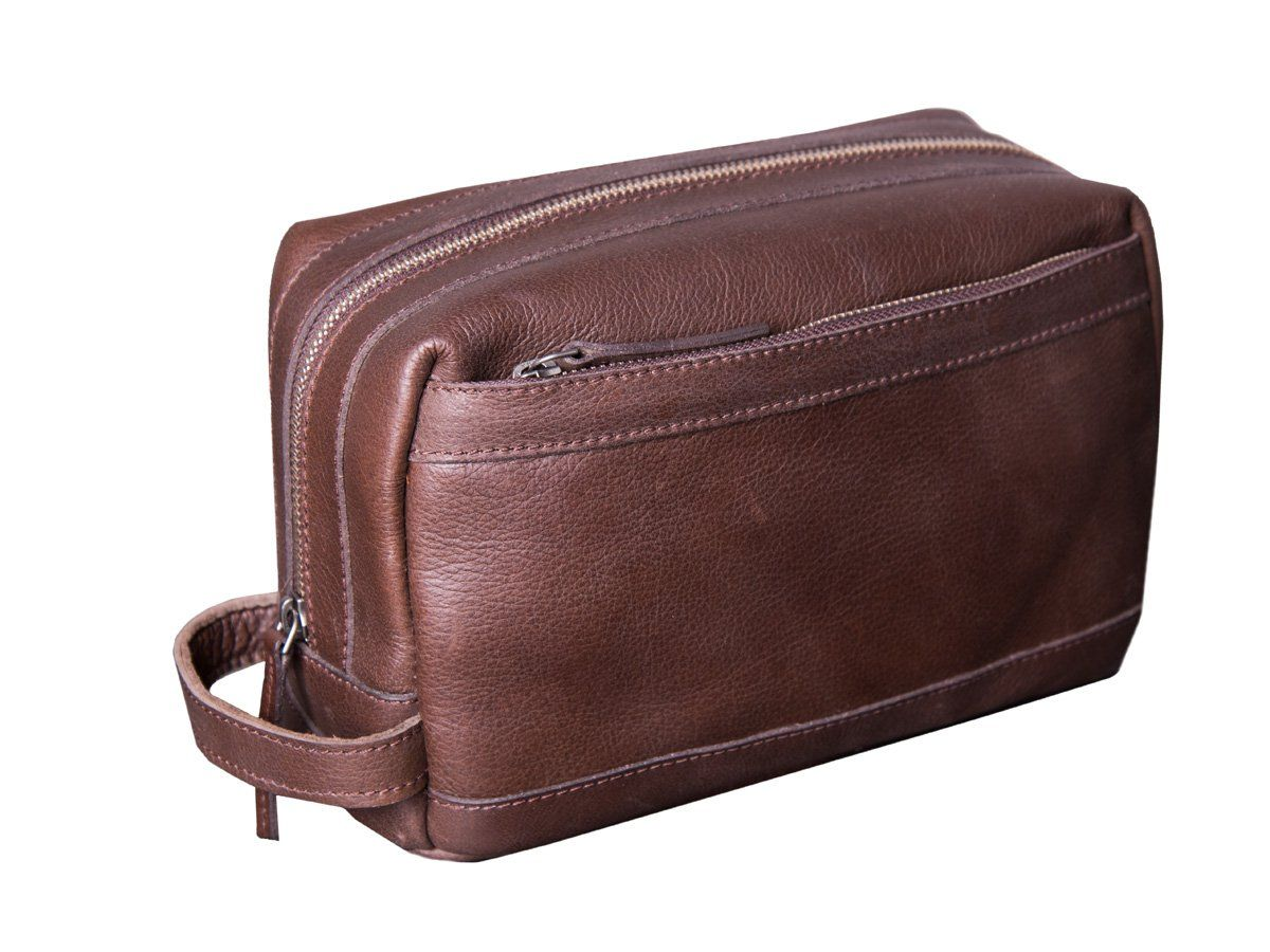 ece23e4297e9 Dwellbee Premium Top Grain Leather Toiletry Bag and Dopp Kit with TSA  Approved LokSak Waterproof Bag