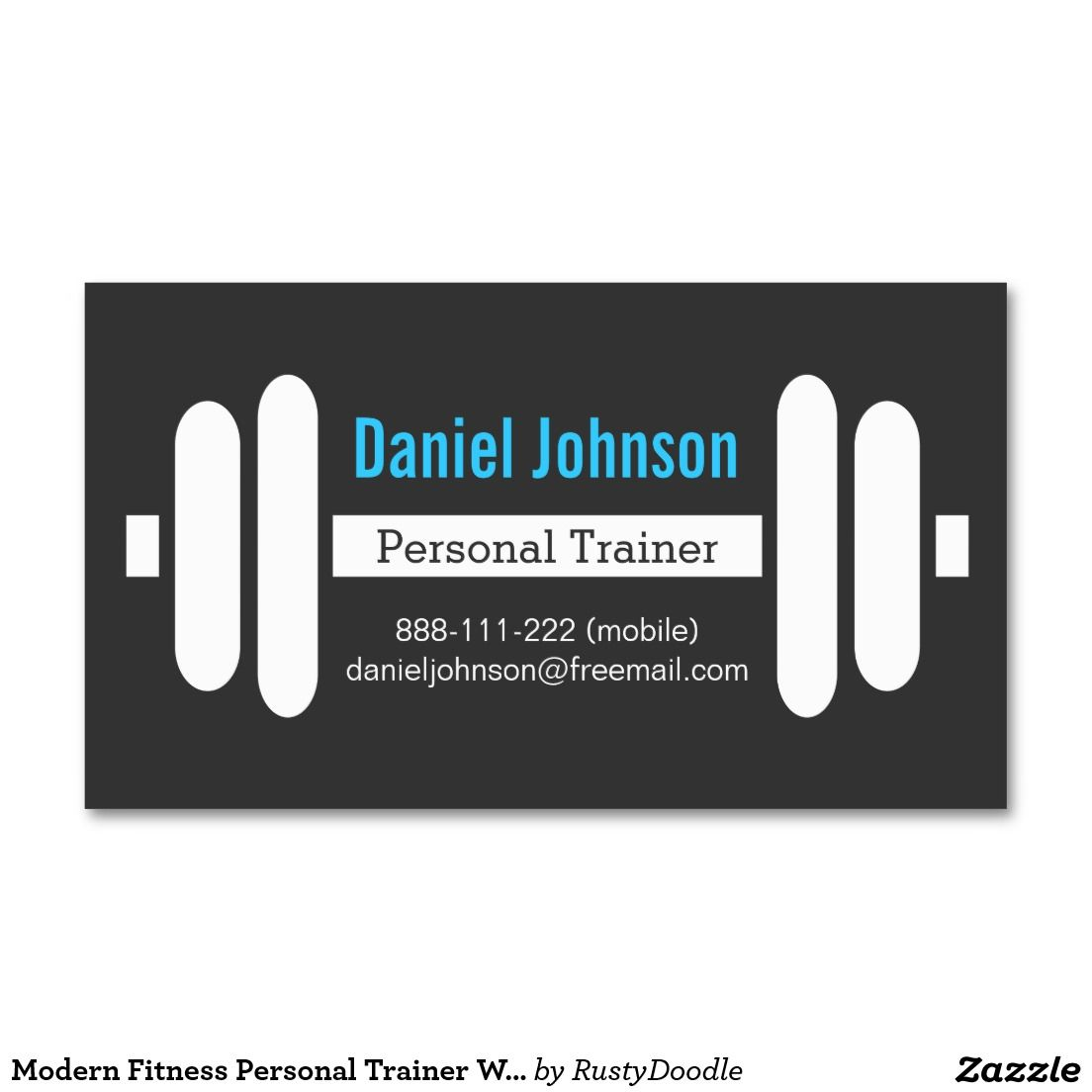Modern Fitness Personal Trainer Weights Black Business Card ...