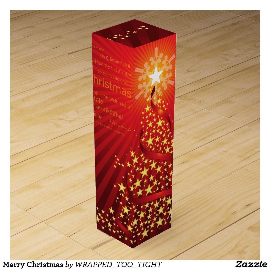 Merry Christmas Wine Gift Box Zazzle Com Wine Christmas Gifts Wine Gift Boxes Wine Gifts