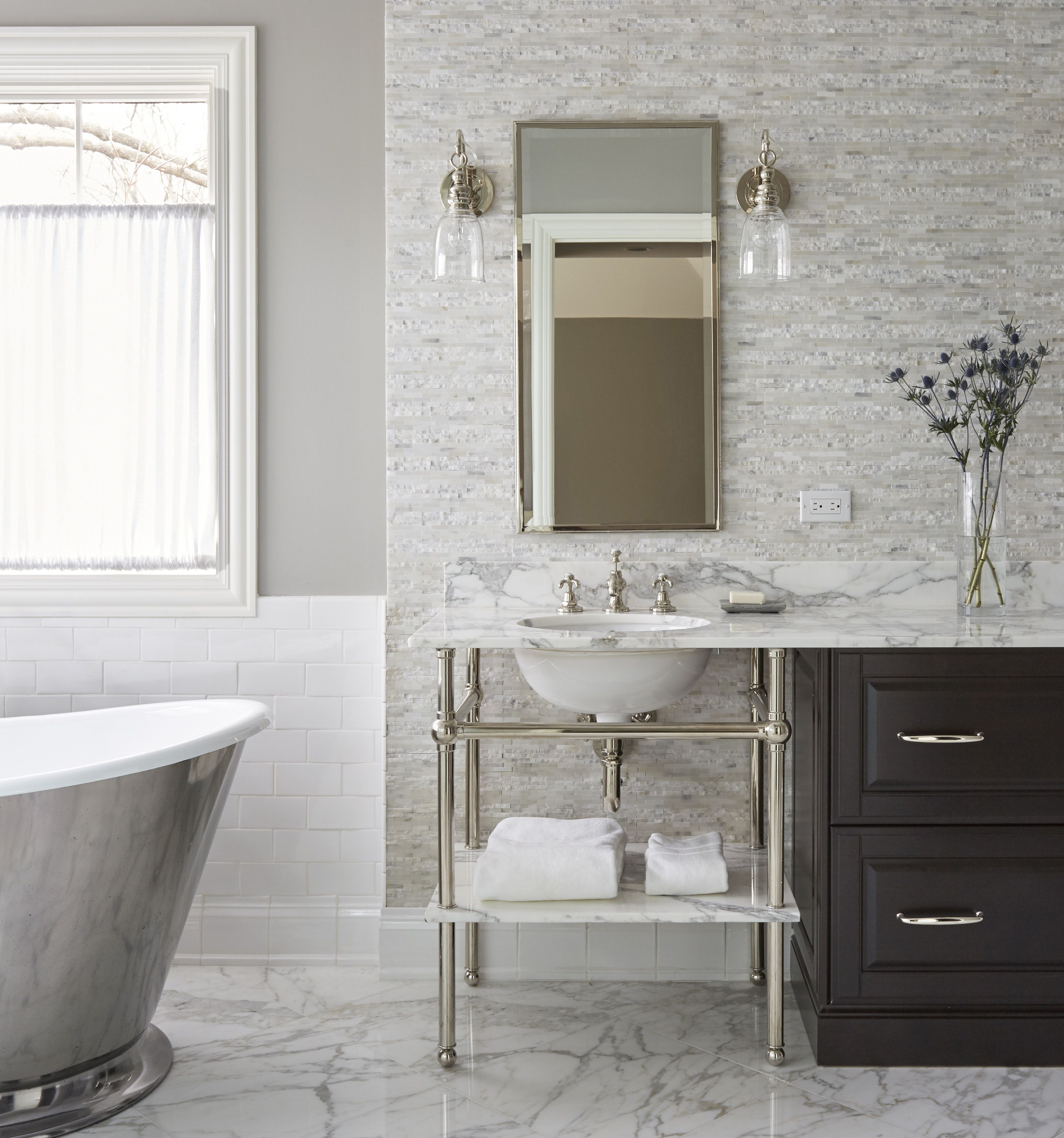One Of Two Waterworks Pratt Metal Four Leg Washstands With Undermount Sink Connect By Top With Drawe Bathroom Design Artistic Tile Bathroom Modern Powder Rooms