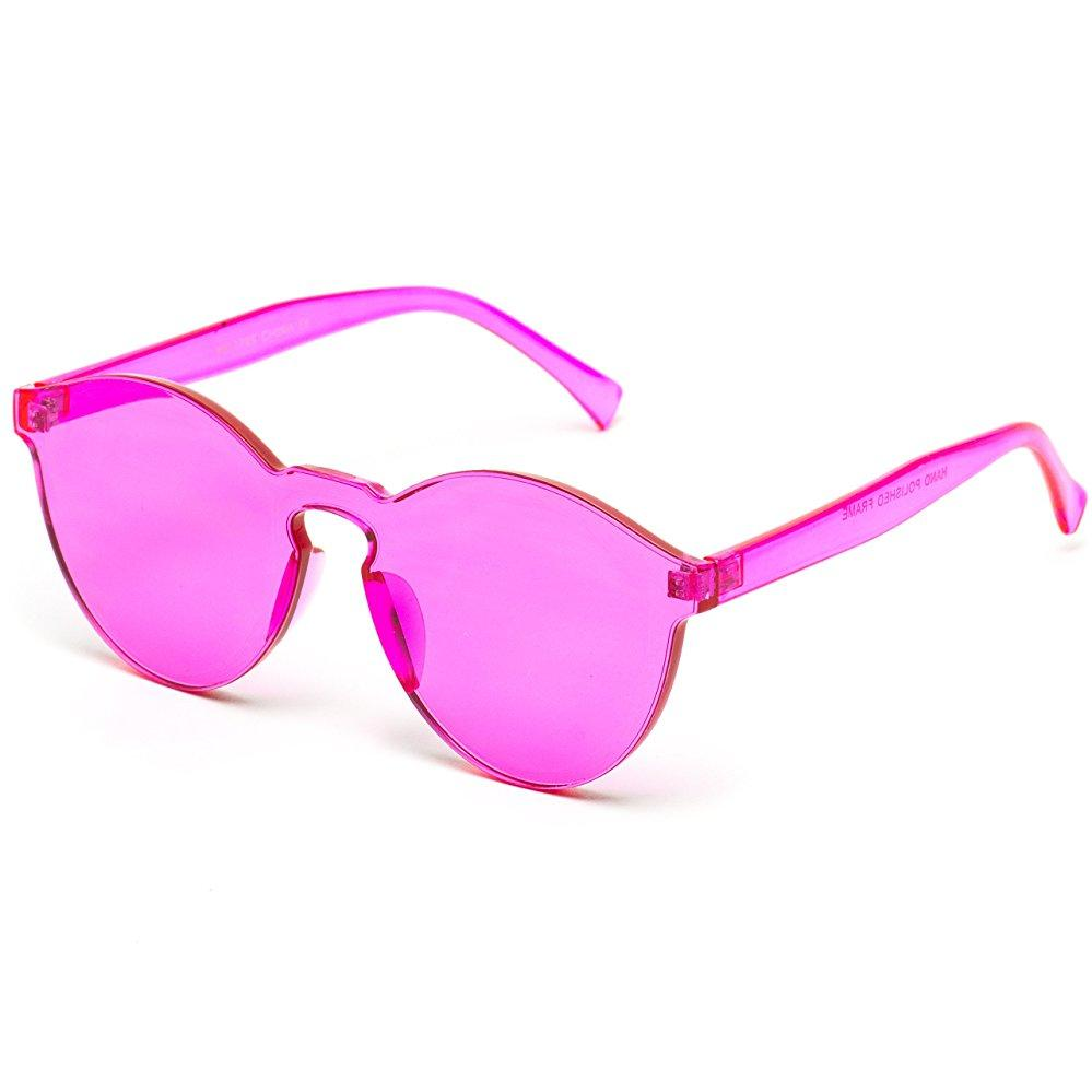 7e8a840de26 Bailey Colorful Transparent Mono Round Summer Sunglasses -Red