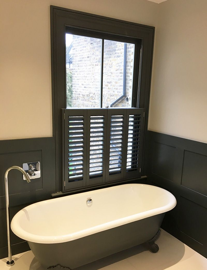 Custom Colour Cafe Style Shutters In The Bathroom