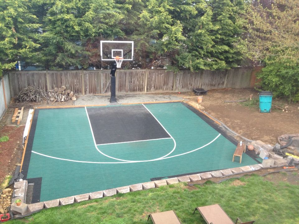 Backyard Sport Court Ideas find this pin and more on sport court backyard courts Sport Court Mega Slam Hoop Great Family Fun Safe And Off The Street Backyard Basketball Courtplayground Ideasfun