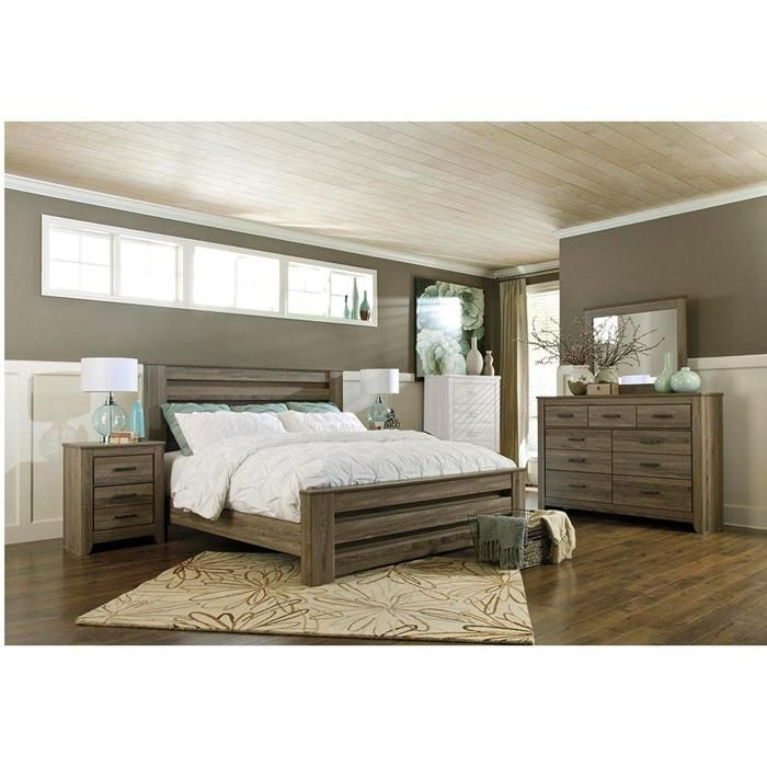zelen 4 piece king bedroom set in warm gray nebraska furniture mart