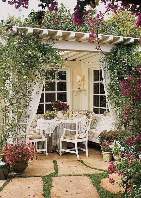 Patio curtains at each post=privacy on each side of the patio!