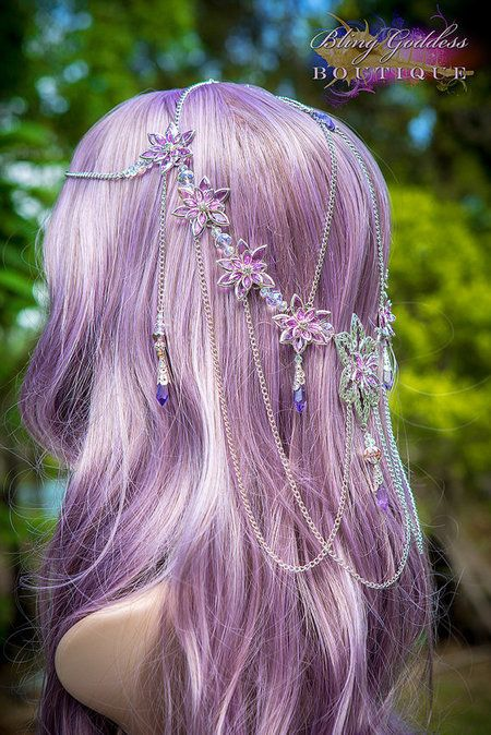 Floral Hair Chain Accessory & Lavender Hair - #floralhairchain #hairchain #hairaccessory - bellashoot.com