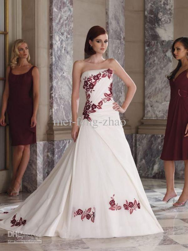 vestidos de novia con detalles en color rojo – mini vestidos